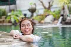 Beautiful Woman Swimming Pool At Resort Relaxed Portrait Young Asian Girl Happy Smile Stock Images