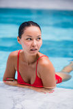 Beautiful Woman Swimming Pool At Resort Relaxed Portrait Young Asian Girl Happy Smile Tropical Vacation Royalty Free Stock Images
