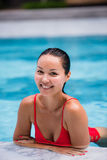 Beautiful Woman Swimming Pool At Resort Relaxed Portrait Young Asian Girl Happy Smile Tropical Vacation Royalty Free Stock Photography