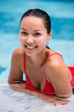 Beautiful Woman Swimming Pool At Resort Relaxed Portrait Young Asian Girl Happy Smile Tropical Vacation Stock Image
