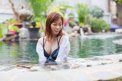 Beautiful Woman Swimming Pool At Resort Relaxed Portrait Young Asian Girl Royalty Free Stock Images