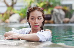 Beautiful Woman Swimming Pool At Resort Relaxed Portrait Young Asian Girl Stock Images