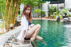 Beautiful Woman Swimming Pool At Resort Relaxed Portrait Young Asian Girl Stock Photography