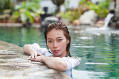 Beautiful Woman Swimming Pool At Resort Relaxed Portrait Young Asian Girl Stock Photo