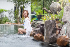 Beautiful Woman Swimming Pool At Resort Relaxed Young Asian Girl Stock Images
