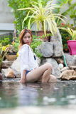 Beautiful Woman Swimming Pool At Resort Relaxed Young Asian Girl Stock Photography