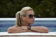 Woman in a Swimming Pool Stock Photo