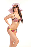 Beautiful woman in swimsuit and hat Royalty Free Stock Photos