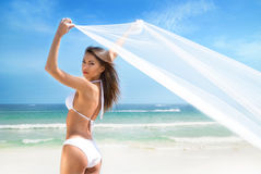 A beautiful woman in a swimsuit posing with a silk blanket Royalty Free Stock Photos