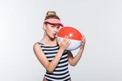 Beautiful woman in swimwear with beach ball Stock Image