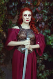 Beautiful woman with a sword. Royalty Free Stock Images