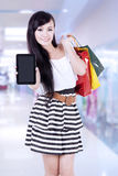 Beautiful woman with tablet Royalty Free Stock Images