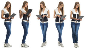 Beautiful Woman With Tablet Computer Royalty Free Stock Images