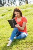 Beautiful woman and tablet PC Stock Photos