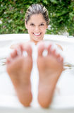 Beautiful woman taking a bath Stock Photography