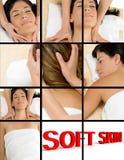 Beautiful woman taking massage royalty free stock image