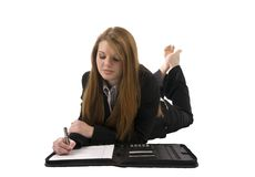 Beautiful woman taking notes Royalty Free Stock Photography
