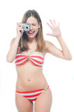 Beautiful woman taking a photo Royalty Free Stock Image