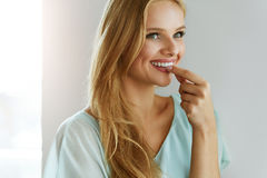 Free Beautiful Woman Taking Pill, Medicine. Vitamins And Supplements Stock Photo - 84237390