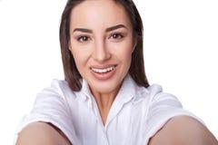 Beautiful woman taking selfie Stock Photos