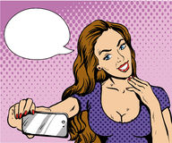 Beautiful woman taking selfie with her smartphone. Vector illustration in retro comic pop art style. Girl with speech bubble Royalty Free Stock Photo