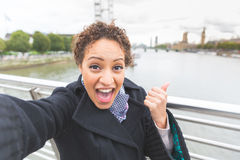 Beautiful woman taking a selfie in London Stock Photography