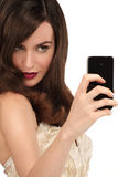 Beautiful woman taking a selfie with  smartphone Stock Photos
