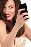 Beautiful woman taking a selfie with  smartphone Royalty Free Stock Photos