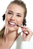 Beautiful woman talk at the helpdesk Stock Images