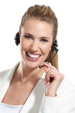Beautiful woman talk at the helpdesk Royalty Free Stock Image