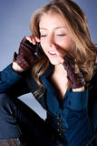 Beautiful  woman talk on the mobile phone Royalty Free Stock Photos