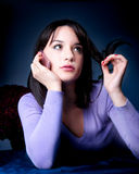 Beautiful woman talk on the mobile phone Stock Images