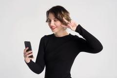 Beautiful woman talking Stock Image