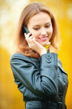 Beautiful woman talking on cell Royalty Free Stock Image