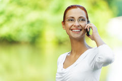 Beautiful woman talking on cell Royalty Free Stock Photo