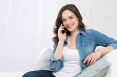 Beautiful Woman Talking On Cellphone stock image