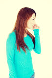 Beautiful woman talking gossip Stock Image