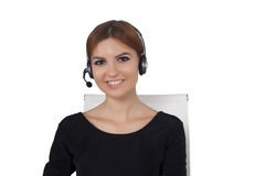 Beautiful woman talking on headset Royalty Free Stock Photography