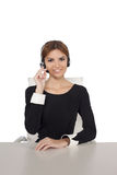 Beautiful woman talking on headset Stock Photos