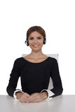 Beautiful woman talking on headset Royalty Free Stock Photo