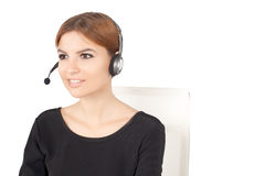 Beautiful woman talking on headset Stock Photography