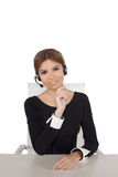 Beautiful woman talking on headset,helpdesk Royalty Free Stock Photography