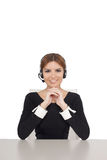 Beautiful woman talking on headset,helpdesk Royalty Free Stock Image
