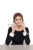 Beautiful woman talking on headset,helpdesk Royalty Free Stock Photos