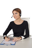Beautiful woman talking on headset,helpdesk Royalty Free Stock Images