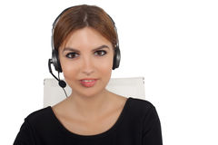 Beautiful woman talking on headset,helpdesk Stock Photo