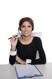 Beautiful woman talking on headset,helpdesk Stock Image