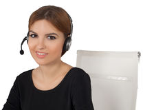 Beautiful woman talking on headset,helpdesk Stock Photography