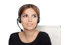 Beautiful woman talking on headset,helpdesk Stock Images