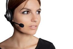 Beautiful woman talking on headset,helpdesk Royalty Free Stock Photo